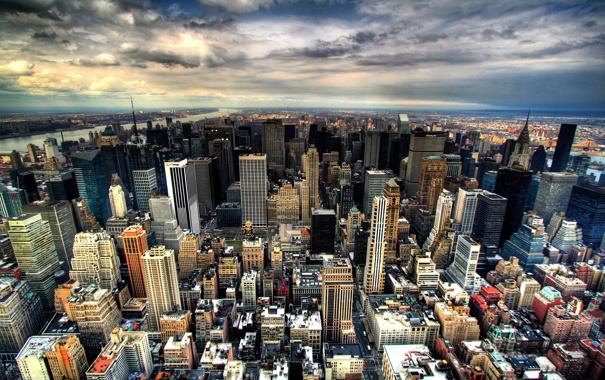 Фото обои город, восход, мегаполис