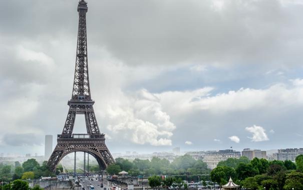 Фото обои лето, небо, облака, тучи, город, эйфелева башня, здания