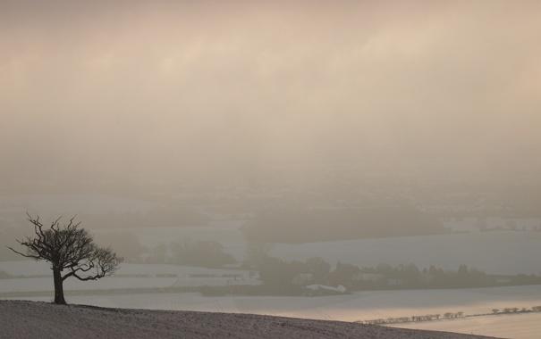 Фото обои холмы, фотографии, вид, деревня, дерево, зимние пейзажи, дома