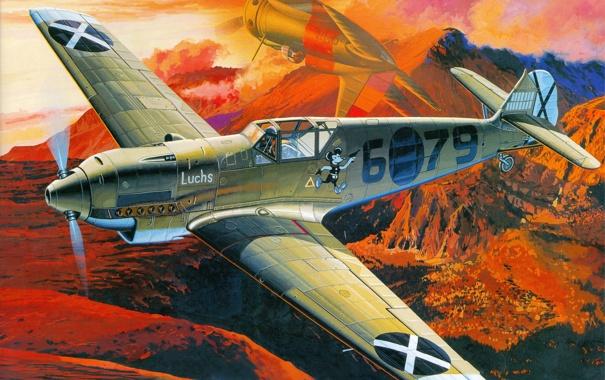 Фото обои авиация, истребитель, арт, самолёт, немецкий, воздушный бой, Мессершмитт Bf.109D