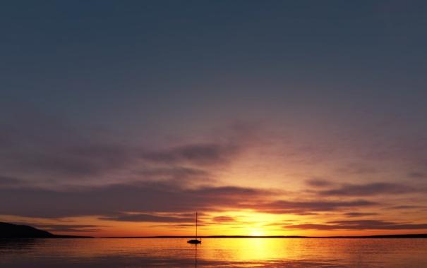 Фото обои море, закат, лодка