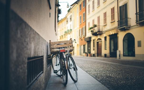 Фото обои велосипед, улица, колеса