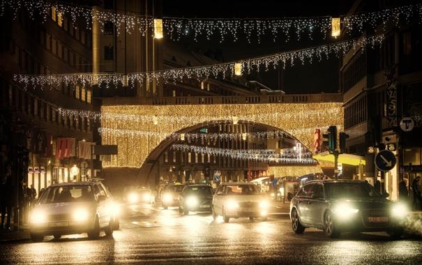 Фото обои машины, ночь, огни, улица, освещение, Стокгольм, Швеция