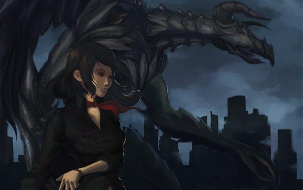 Фото обои девушка, ночь, красный, город, дракон, монстр, арт