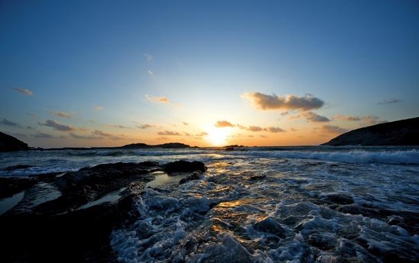 Фото обои закат, пейзаж, небо, фото, море. вечер, волны, морская пена