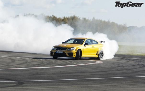 Фото обои желтый, дым, занос, суперкар, дрифт, мерседес, AMG