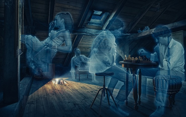 Фото обои арт, приведения, призраки, чердак, Ghost party