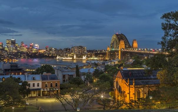 Фото обои ночь, мост, огни, река, Австралия, Сидней, набережная