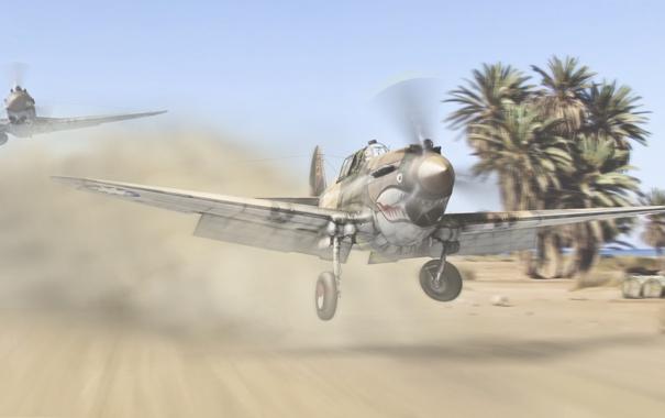 Фото обои авиация, пустыня, истребители, самолёты, Curtiss P-40, летающие тигры