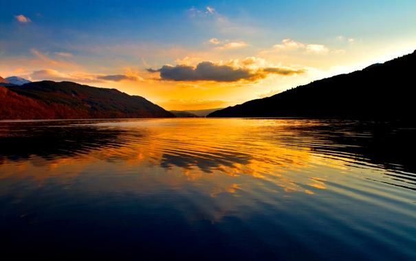 Фото обои небо, вода, закат, отражение, гора