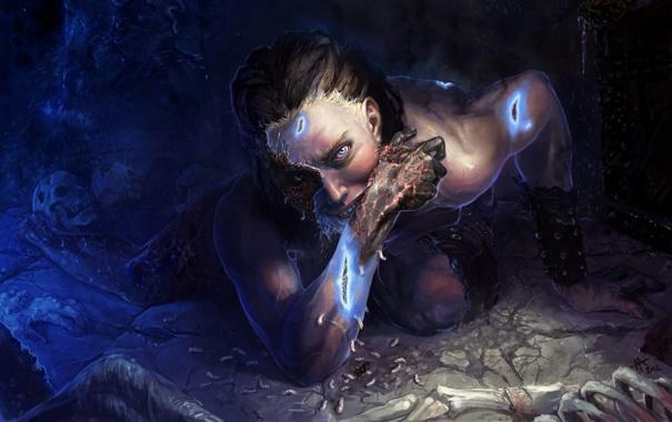 Фото обои арт, пещера, Skyrim, черви, The Elder Scrolls V, Dovahkiin