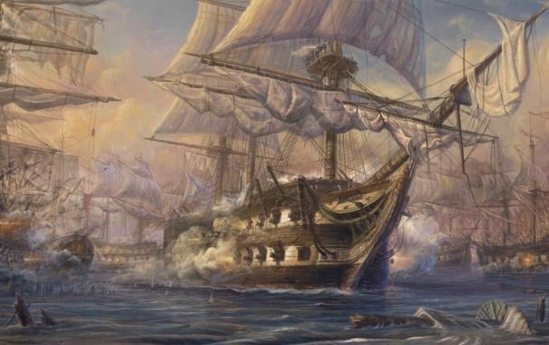 Фото обои море, корабли, пушки, арт, паруса, живопись, мачты