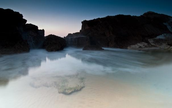 Фото обои море, вода, прозрачность, скалы, дно, утро