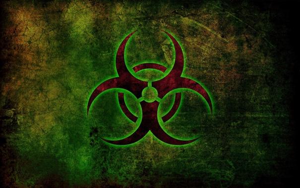 Фото обои знак, свечение, bio-hazard