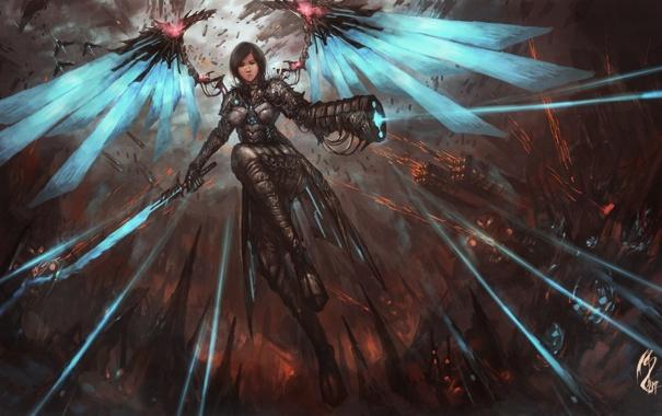 Фото обои девушка, оружие, фантастика, крылья, арт, демоница