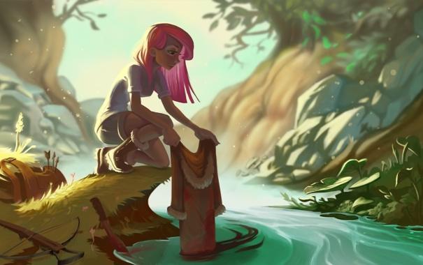 Фото обои лес, девушка, река, кровь, арт, арбалет