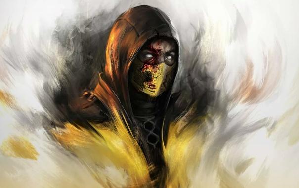 Фото обои игра, game, Скорпион, Арт, fight, Scorpion, mortal kombat