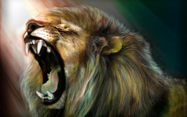 Фото обои лев, арт, рёв