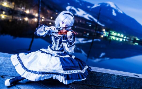 Фото обои скрипка, игрушка, кукла, блондинка