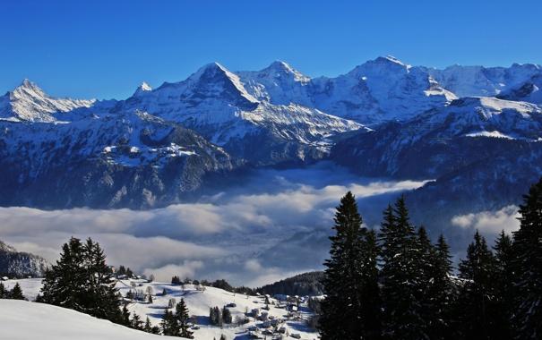 Фото обои зима, облака, снег, деревья, горы, Швейцария, домики