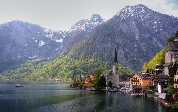 Фото обои горы, озеро, побережье, дома, Австрия, церковь, Austria