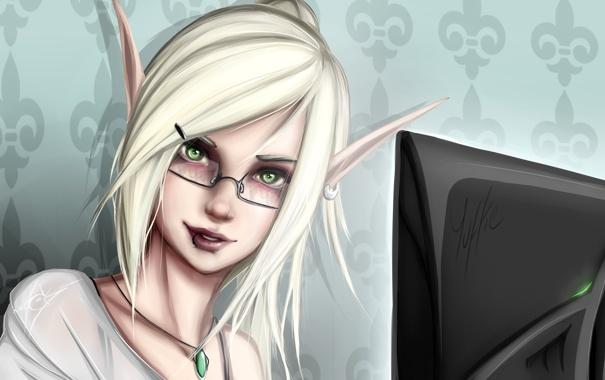 Фото обои девушка, лицо, эльф, очки, монитор