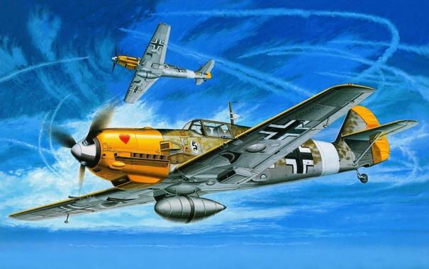 Фото обои небо, авиация, самолет, истребитель, арт, Messerschmitt Bf-109E 7