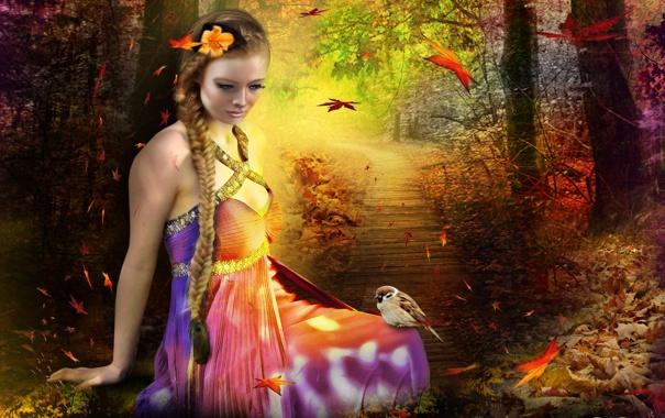 Фото обои осень, листья, девушка, деревья, цветы, птицы, ресницы