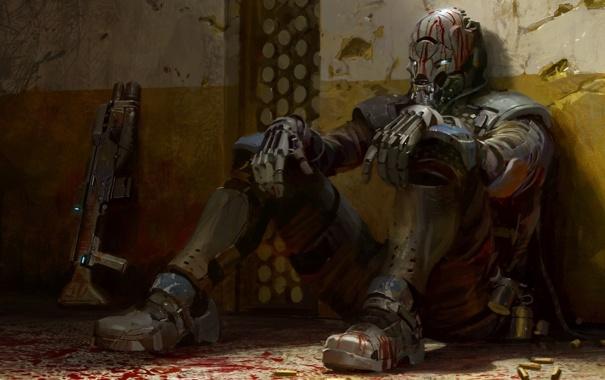 Фото обои оружие, кровь, игра, арт, солдат, гильзы, ps3