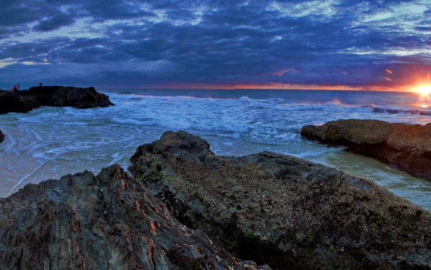Фото обои скалы, рассвет, побережье, Австралия, Australia, Queensland, Квинсленд