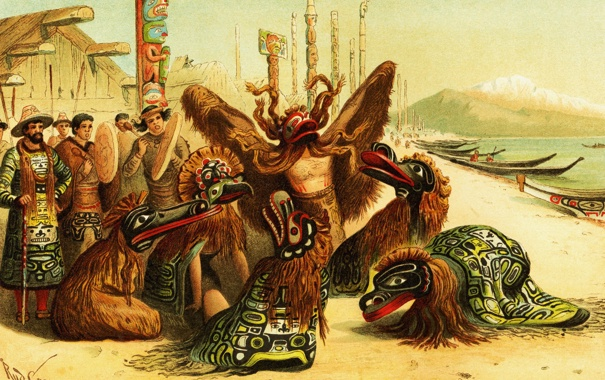 Фото обои картина, живопись, painting, Bella Coola, Indians Native North America