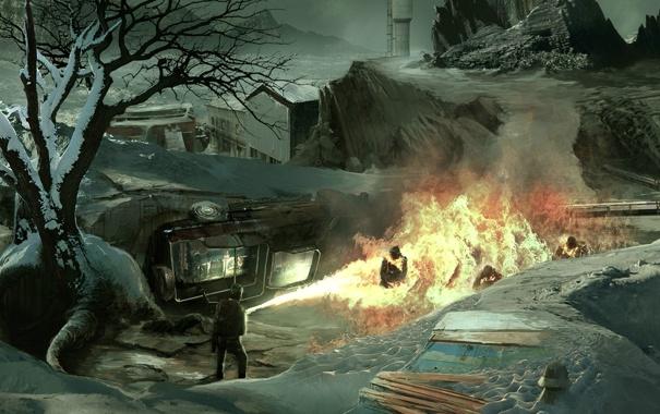 Фото обои машина, снег, люди, дерево, пламя, здания, огнемет