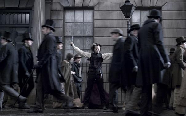 Фото обои улица, Johnny Depp, толпа, Джонни Депп, цирюльник, Sweeney Todd, ССуини Тодд