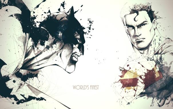 Фото обои Batman, art, Superman, David Despau