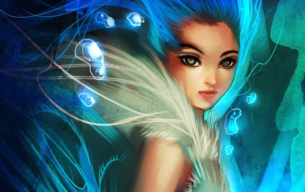 Фото обои девушка, пузырьки, абстракция, арт, мех, ryky
