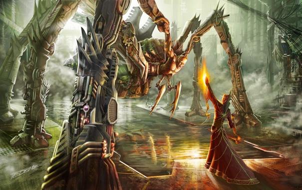 Фото обои вода, огонь, магия, человек, робот, монстр, паук