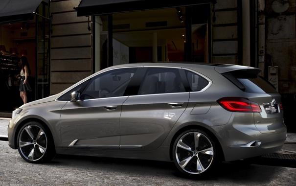 Фото обои Concept, девушка, фон, BMW, БМВ, концепт, вид сзади