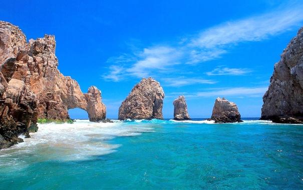 Фото обои море, небо, облака, природа, скалы, арка