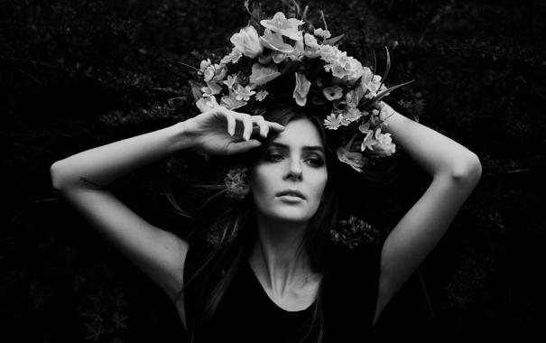 Фото обои девушка, цветы, лицо, фон