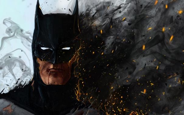 Фото обои batman, fire, art