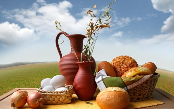 Фото обои корзина, яйца, лук, хлеб, ваза, кувшин, выпечка