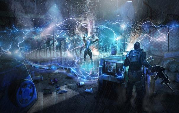 Фото обои ночь, дождь, молния, мужик, разряд, автомат, зомби
