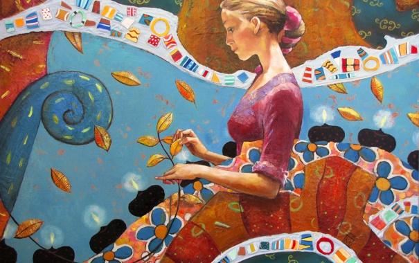 Фото обои листья, девушка, цветы, мозаика, узоры, краски, картина