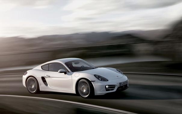 Фото обои Белый, Porsche, Колеса, Машина, Капот, Cayman, Купэ