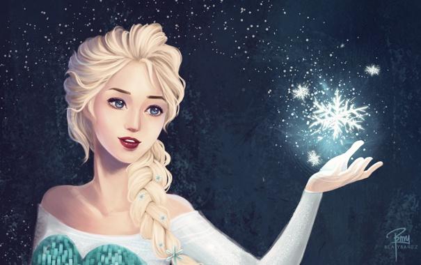 Фото обои девушка, косичка, волосы, снежинки, лицо, рука, арт