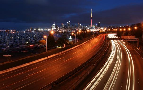 Фото обои ночь, огни, яхты, шоссе, мегаполис