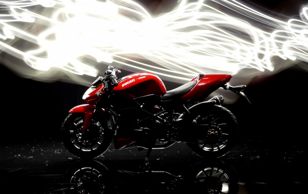Фото обои фон, темный, свечение, мотоцикл, ducati, Streetfighter