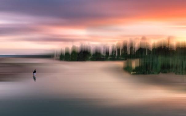 Фото обои пейзаж, закат, озеро, человек