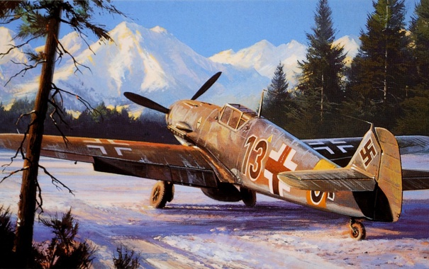 Фото обои зима, рисунок, истребитель, Nicholas Trudgian, Bf109F