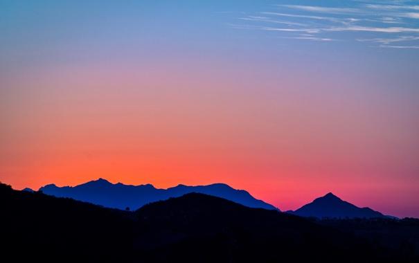 Фото обои пейзаж, закат, горы, California, Topanga Canyon